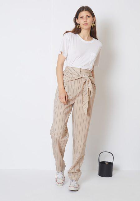 Tibi Tropical Wool Stripe Suiting Sculpted Pleat Pant - tan pinstripe