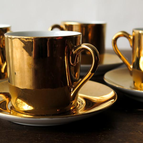 gold espresso set
