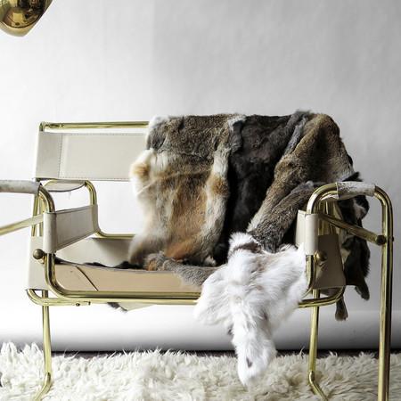 Erica Tanov rabbit fur throw