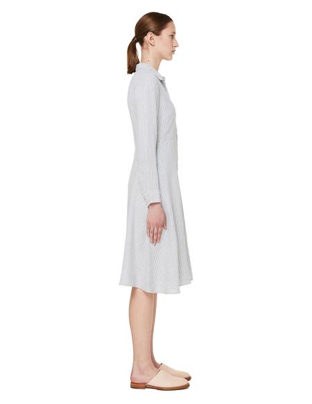 120% Lino Striped Linen Dress - Grey