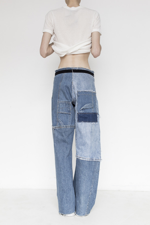 Intentionally Blank Denim Patchwork Simple Pant