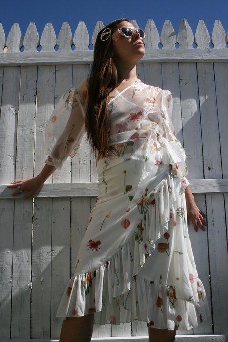 Aéryne Mellie Mesh Floral Print Skirt - White Fleures Sauvage
