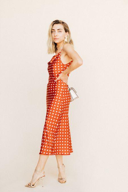 BETWEEN TEN Eleanor Cowl Dress - Red Polka