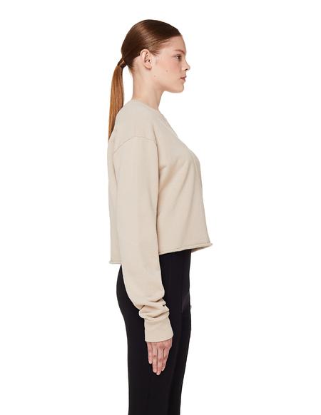 John Elliott Cropped Cotton Sweatshirt - Beige