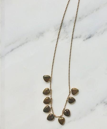 I. Ronni Kappos Gold Hearts on Ball Chain Necklace - 24K Gold