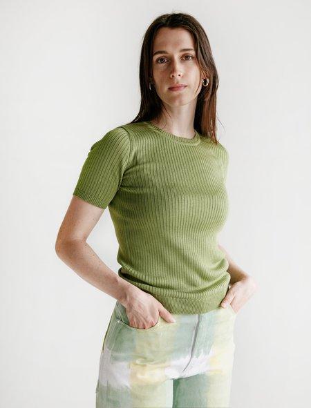 Une Heures Luxembourg Short Sleeve Silk Crewneck Shirt - Green