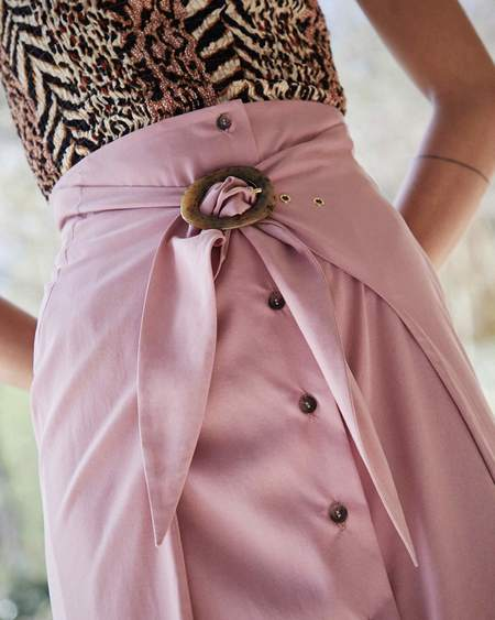 Nanushka CHEMIA Japanese tie front skirt - Dusty pink