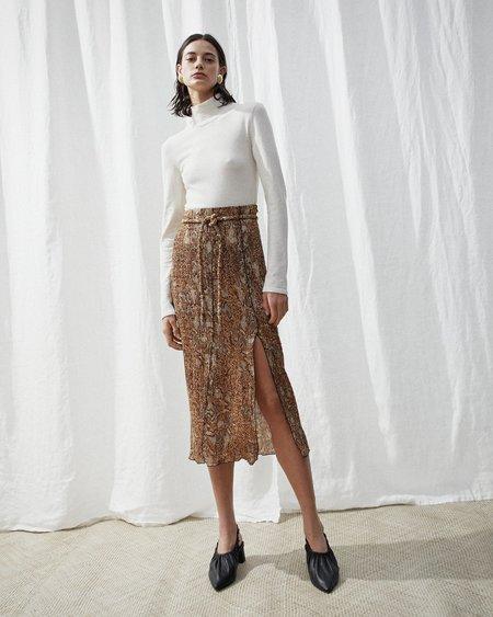 Nanushka INDIRA Slit skirt with belt - Brown snake