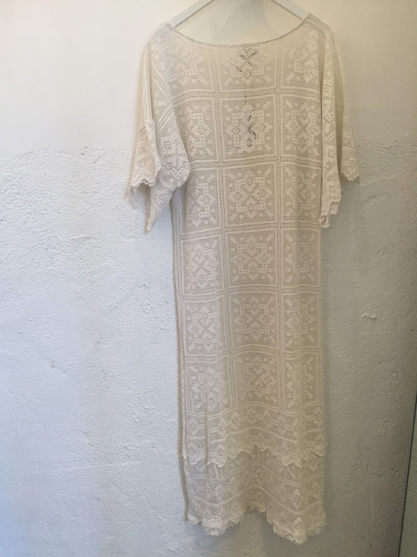 Place Nationale Sleeved Kaftan Crochet Maxi Dress