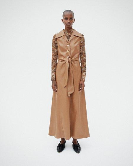 Nanushka SHARMA Tie front vegan leather sleeveless dress - Brown