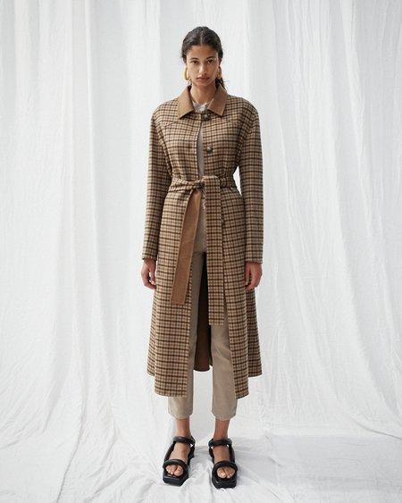 Nanushka SIRA Flare wool coat - Brown check