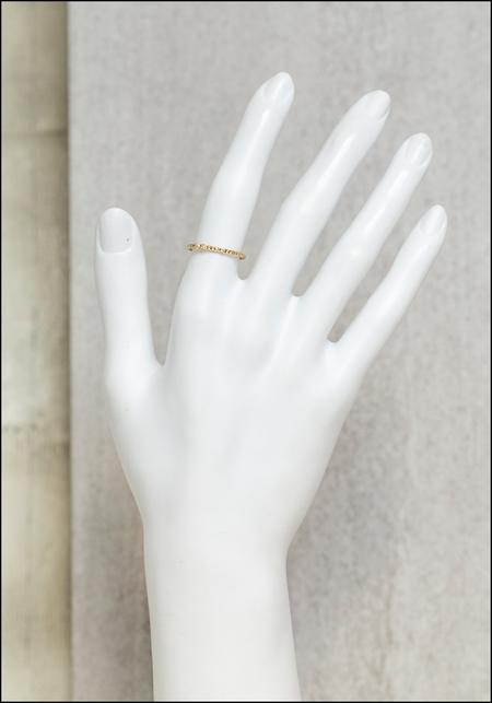 Lio and Linn Textured Band - 14KT Gold Triple White Diamond