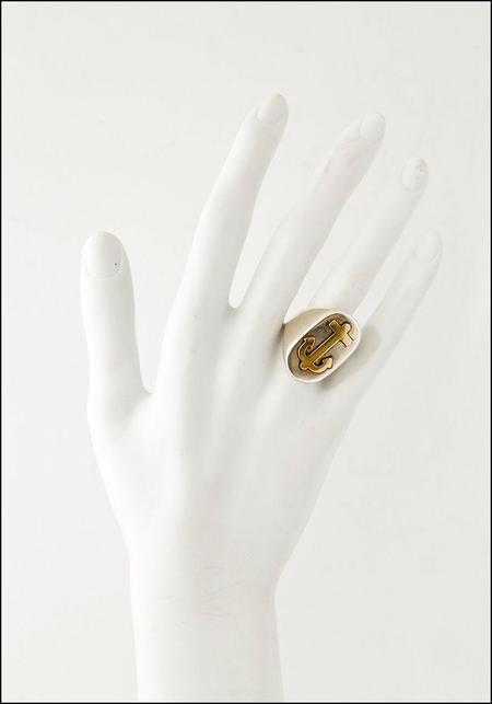 Unisex LHN Anchor Signet Ring - Silver/Brass