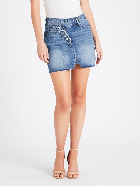 Frame Denim Exposed Overlap Mini Skirt - Ophelia
