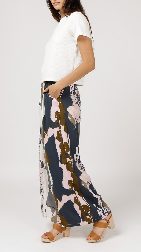 Native Youth Graphic Coastal Wide Leg Trouser