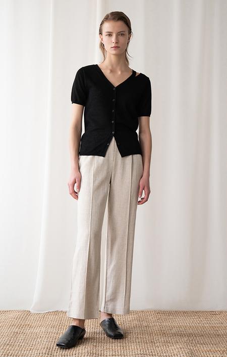 AMONG SEOUL Slit Knit Cardigan - BLACK