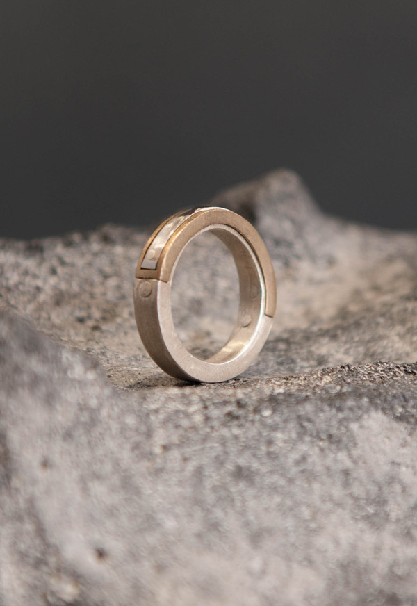 Parts of Four Silver Inlay Ring
