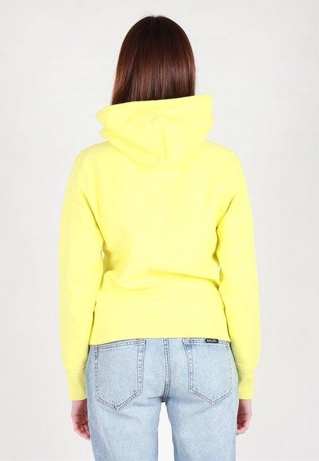 Champion Europe Mini Script Reverse Weave Hoodie - Lime Yellow
