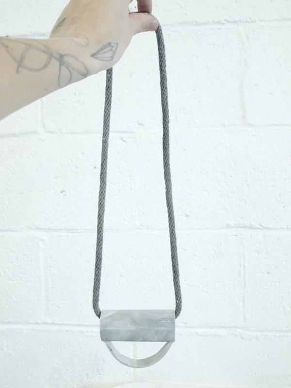 YYY marble half circle tube necklace