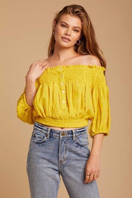 Free People Dancing Till Dawn Top - Yellow