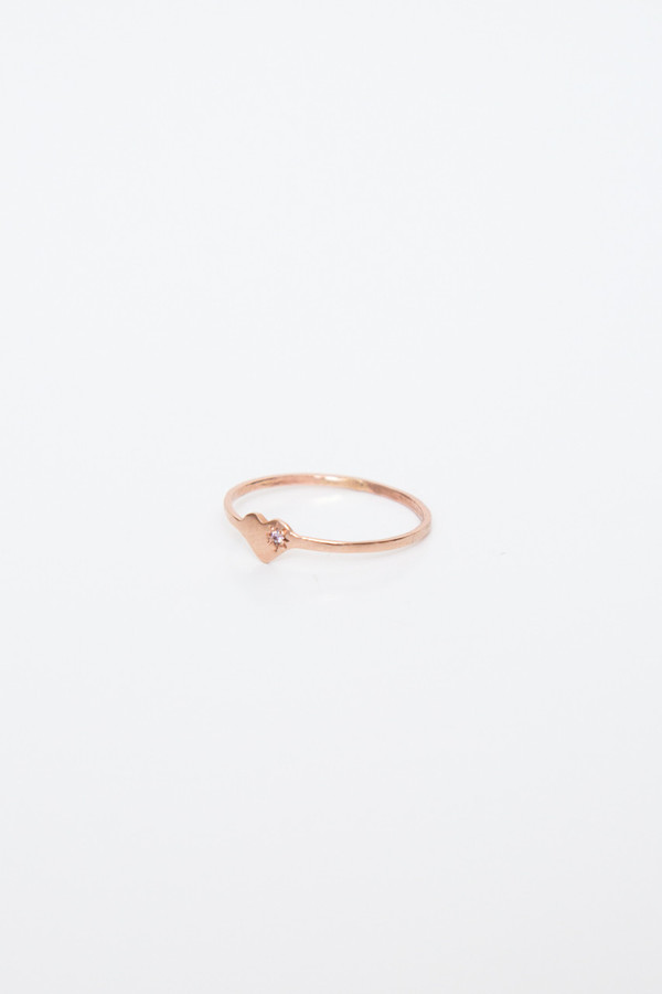 fiat lux rose gold heart ring with pink sapphire