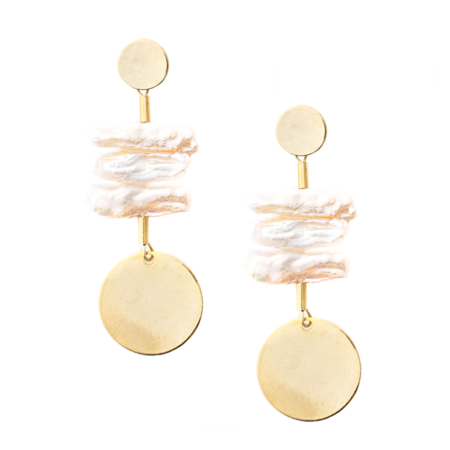 Mod + Jo Peyton Pearl Statement Earrings - Gold