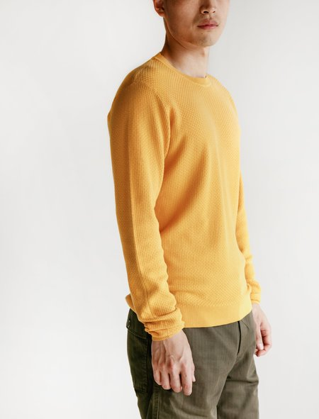 Norse Projects Sigfred Cotton Texture Sweater - Sunrise Yellow
