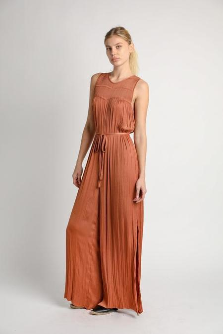 Current Air Pleated Jumpsuit w/ Side Slits - CLAY