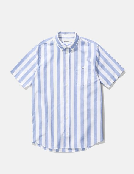 Norse Projects Theo SS Wide Stripe Oxford Shirt - Pale Blue