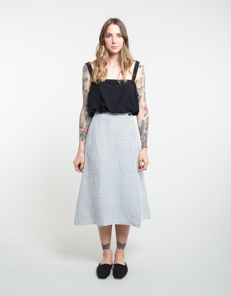 Ali Golden Wrap Skirt with Buttons - Grid