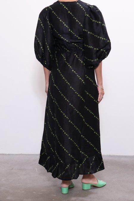 Ganni Silk Linen Dress - Black