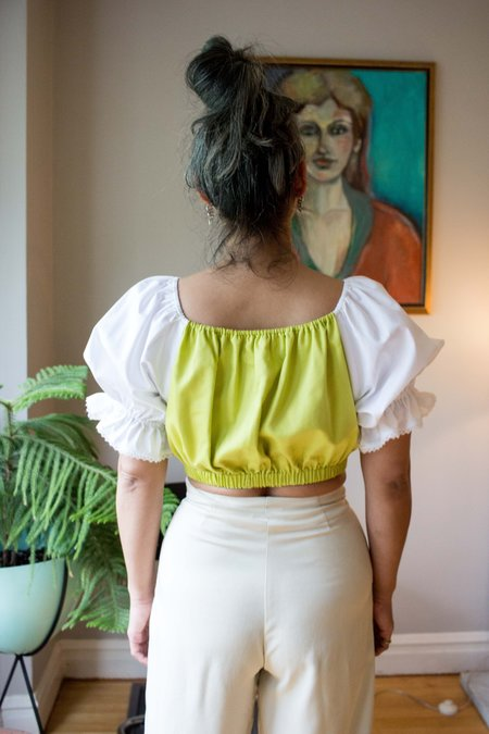 Hannah Isolde Peasant Blouse - Chartreuse