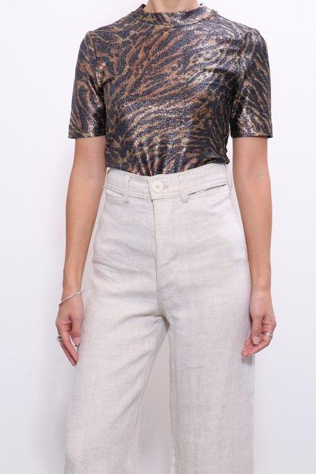 Ganni Lurex T-shirt - Tiger Print