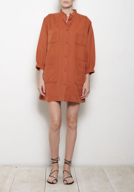 Apiece Apart Aragon Mini Dress - Terracotta