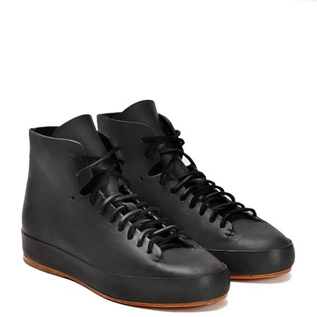 Feit Veg Tan Hand Sewn High Sneaker - BLACK