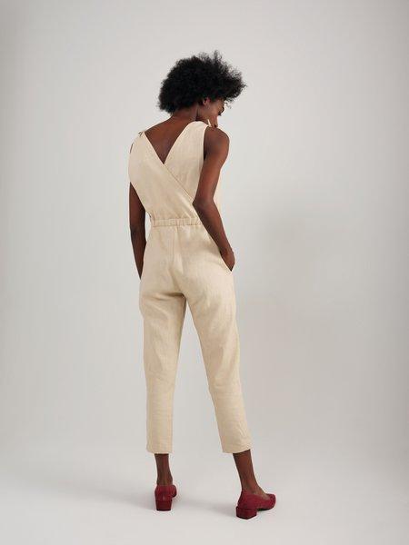 Odeyalo CANDIDE linen jumpsuit - BEIGE