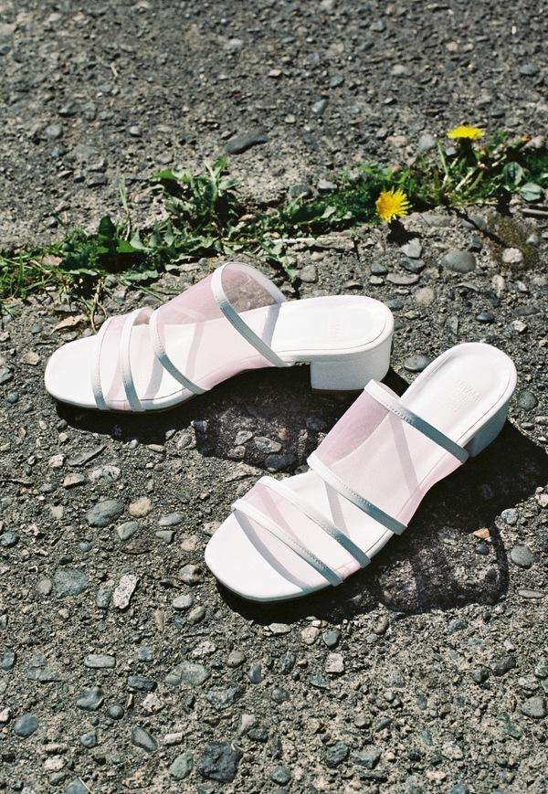 Maryam Nassir Zadeh Martina Slide - white / pink mesh