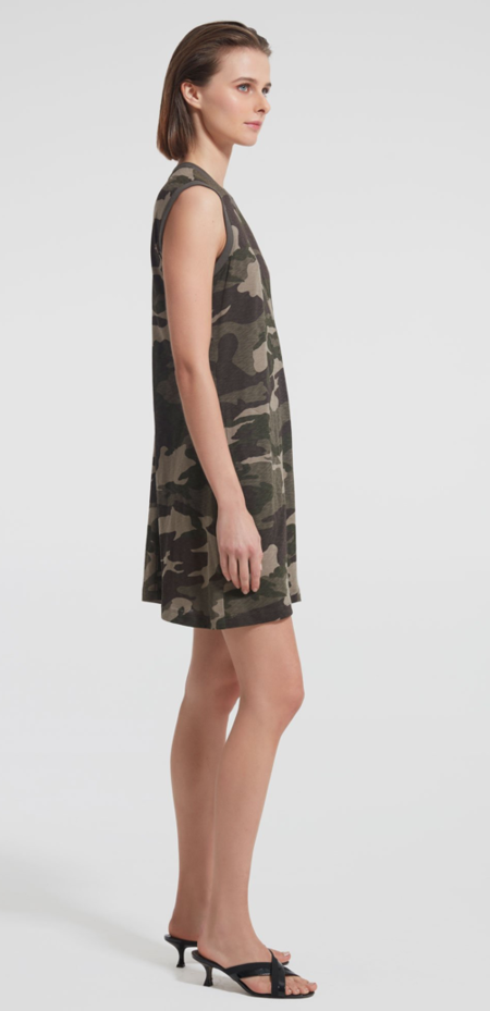 ATM Slub Jersey Tank Dress - Camo
