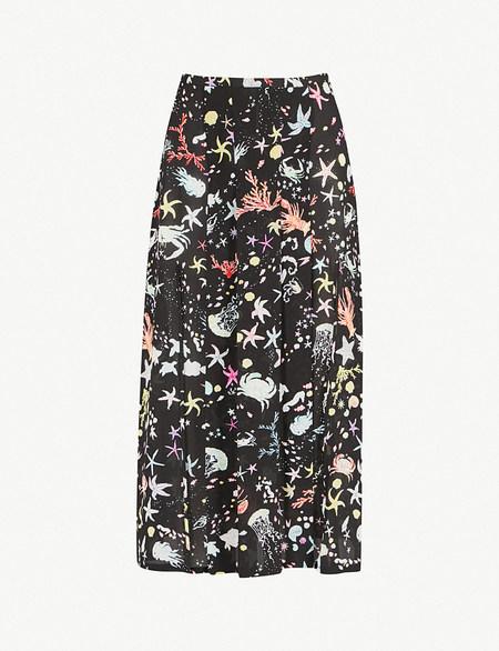 RIXO LONDON black silk printed skirt with slits - MULTI