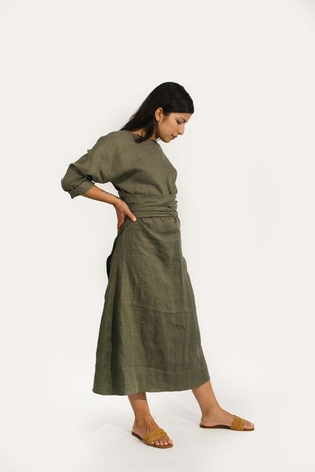 Two Fold Clothing Linen Long Sleeve Clara Dress