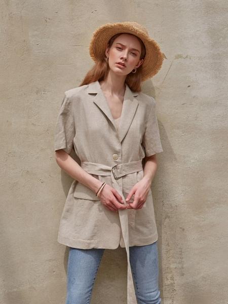 LOEIL Belted Linen Half Jacket - Oatmeal
