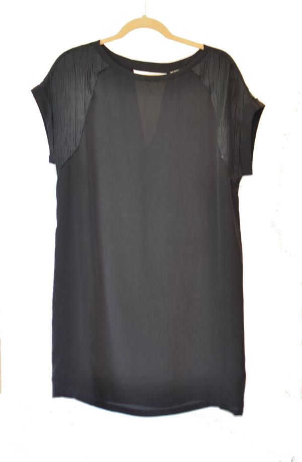 The Korner Black Silk Dress with Shoulder Detail