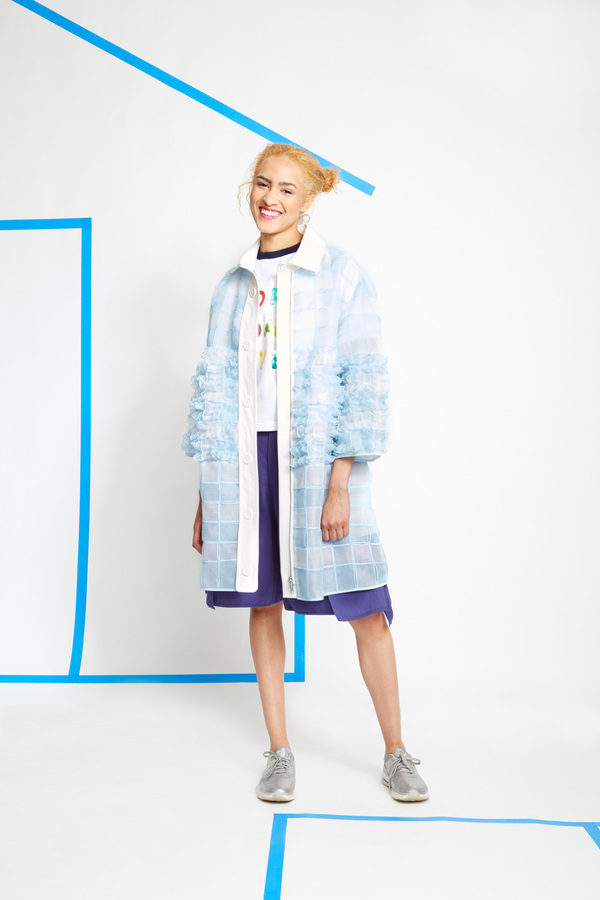 Steven Tai Gathered Weave Panel Coat