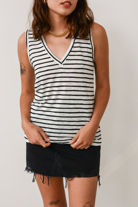 LNA Clara Tank - Black White Stripe