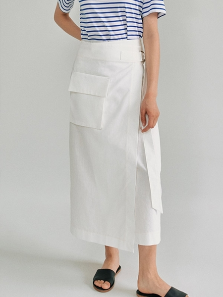 Facade Pattern Wrap Belted Skirt - Off White