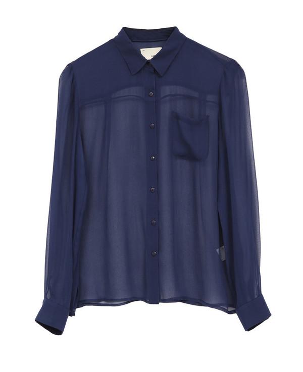 The Korner Navy Long Sleeve Sheer Silk Shirt