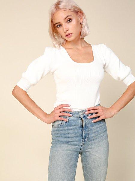 Line & Dot Tilly Short Sleeve Sweater - White
