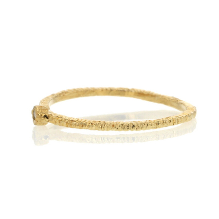 Danielle Welmond etched band with diamond - 14k Gold
