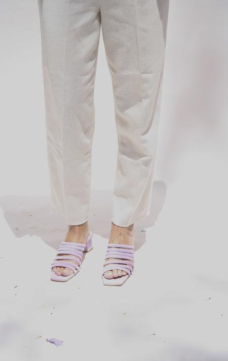 Miista Alejandra Suede Mid-Heels Mules - Lilac