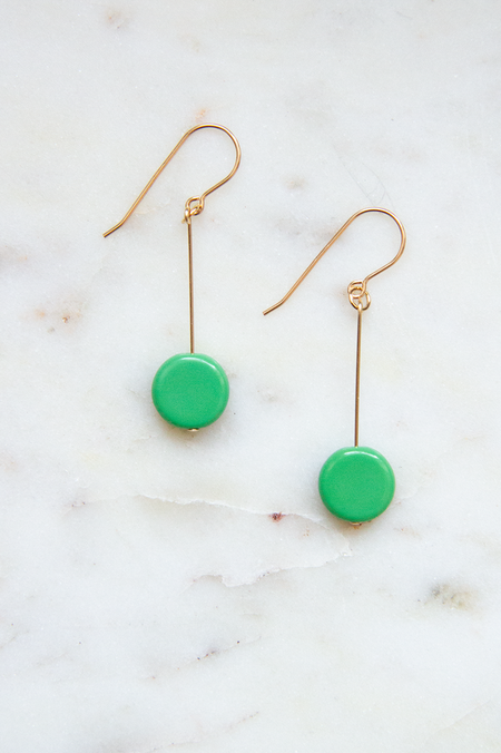 I. Ronni Kappos  Glass Bead Circle Drop Earrings - 14 K Gold/Fiesta